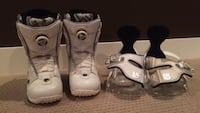 White ride snowboarding boots and burton bindings