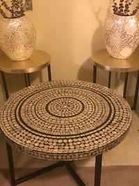 """5 pieces dining room tables handcrafted mosaic coffee 31x18"""" two end tables 18x20"""" and 2 vases 14"""" free floral interested message me pick up in Gaithersburg Maryland 20877 all sales final  Gaithersburg, 20877"""