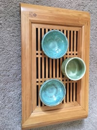 Bamboo tea tray w, 3 cups Huntington Beach, 92647