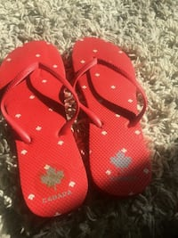 red and white flip flops Toronto, M3L 1P4