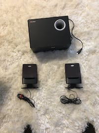 Labtec speakers. Includes subwoofer and 2 speakers