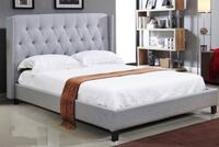 UPHOLSTERED WING BED WITH STUDS AND DEEP TUFTING. Toronto, M6N 3G1