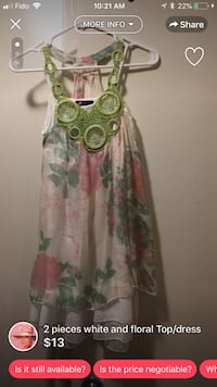 green and pink floral sleeveless dress London, N5Y