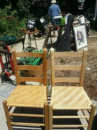 2 pine, woven cane seat chairs for staining/paint ROXBURY CROSSING, 02120