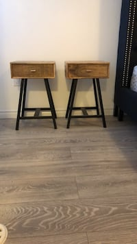 Two brown wooden side tables Milton, L9E