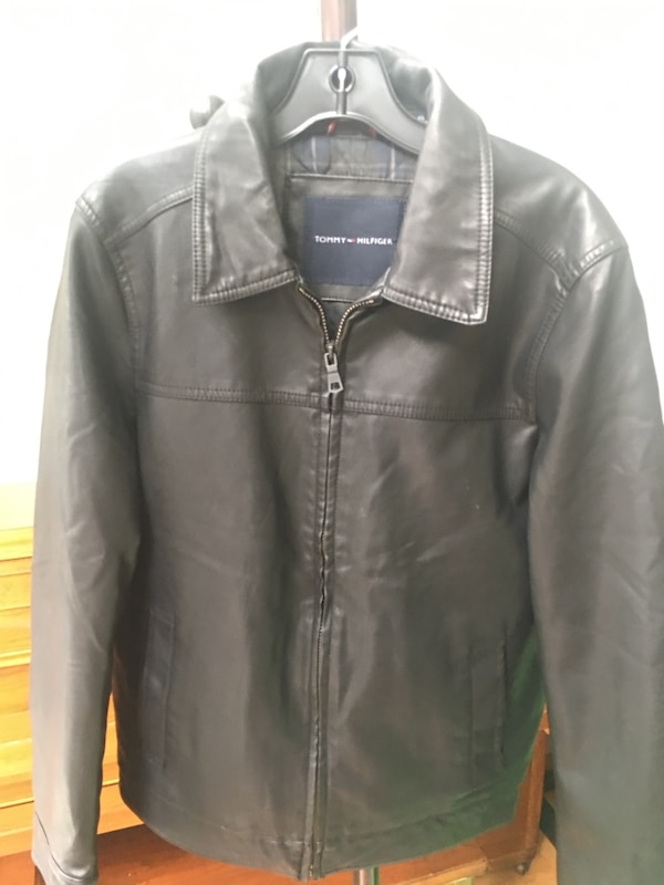 2d7046338 Black Tommy Hilfiger Faux Leather Bomber Jacket