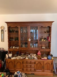 brown wooden display cabinet with shelf ANNANDALE
