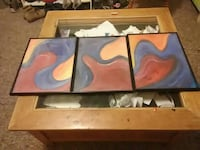 blue, brown, and red abstract painting