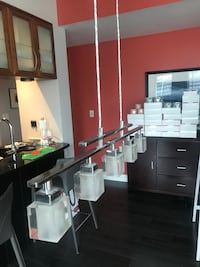 Modern frosted glass  and chrome chandelier