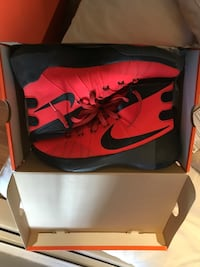 red-and-black Nike basketball shoes with box