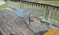 gray metal stand octagonal glass pedestal table Silver Point, 38582