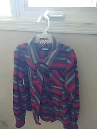 Black and red stripped button up sweater Calmar, T0C