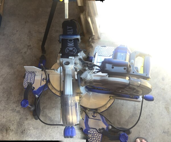 Mitre saw 10 inch blade, 15 amp with laser guide. Only used twice in good condition. Brand name Kobalt. Stand brand name Mastercraft . 25a655c0-58d7-4614-8190-e321daf70e58