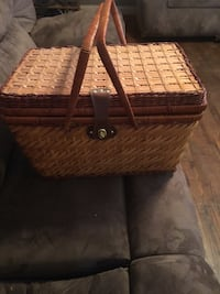 Wicker brown picnic basket