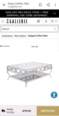 Zgallerie Mirrored Coffee Table  Chicago, 60605