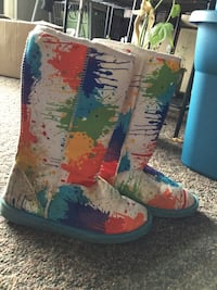 Paint splatter tall boots  2663 km