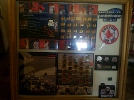 Patriots and Red Sox collectible pins frame