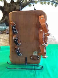 Las vinas wood and leather wine and glass holder with leather horse West Islip, 11795