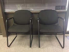 4 Black Upholstered Office Chairs- $15 Each