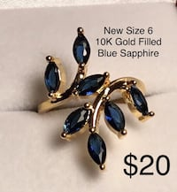 New Blue Sapphire, 10K Gold Filled, Size 6 Chesapeake, 23320