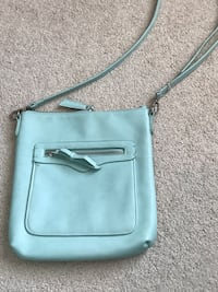 Teal real leather vintage bag