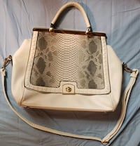 Medium White Snakeskin Convertible Handbag Gold Ac
