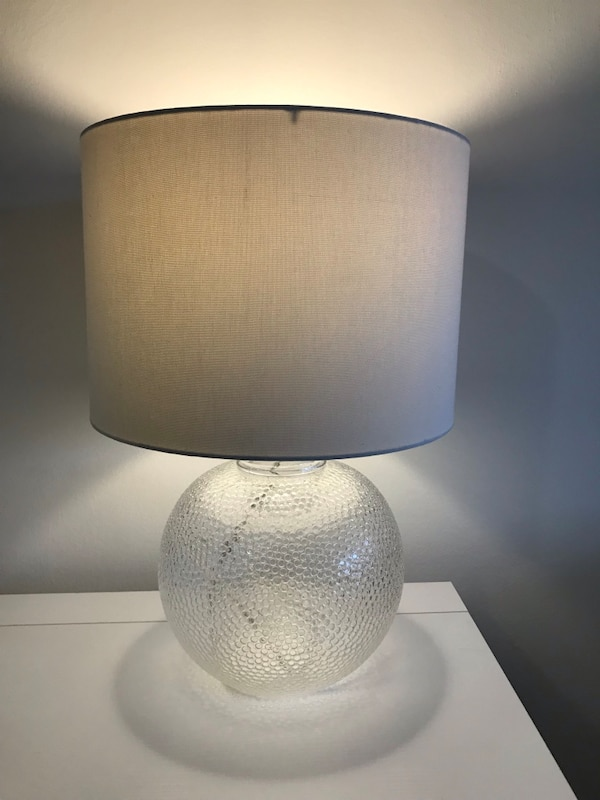 Clear Textured Glass Lamp w/ Shade and Bulb