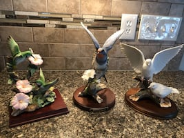 Trio of Porcelain Bird Figurines