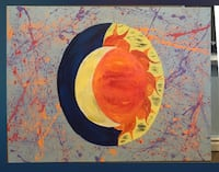 orange, yellow, and blue splatter abstract painting
