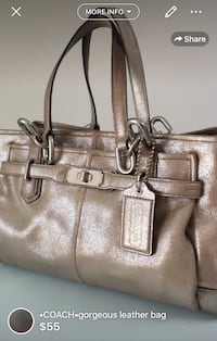 350$•COACH•gorgeous leather bag-great medium size bag many compartments to help you org lining pretty clean just few pen marks here and there light coffee stain on the base not noticeable when sits upright great long handles to carry on shoulder neutral c London, N5W 6E2
