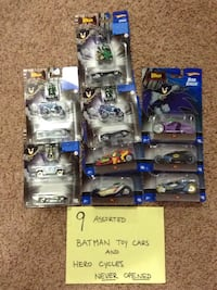 9 assorted batman toy cars and hero cycles (hot wheels Edmonton, T5Y