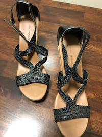 pair of black leather open-toe heeled sandals Lawrenceville, 30044
