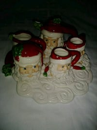 two white ceramic Santa Clause candle holders Fargo, 58103