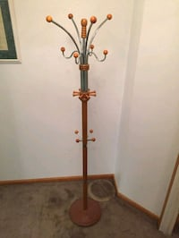 red and gray coat stand