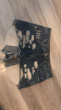 Blå distressed denim daisy duke shorts Inderøy, 7670