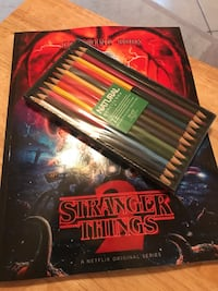 Coloring book Stranger Things with colored pencils