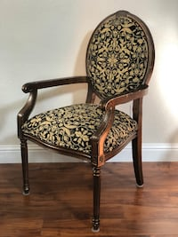 brown wooden framed brown and white floral padded armchair Antioch, 94531