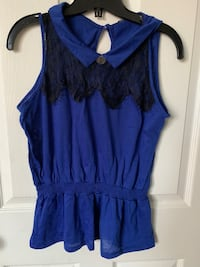 Blue net lace flared shirt top Toronto, M1P 4P5