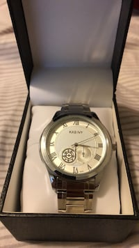 Round silver chronograph watch with link bracelet Thornton, 80241