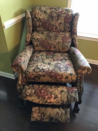 brown and green floral fabric sofa chair 7 km