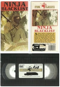 vhs Ninja Blacklist  Star Classics  1987 Martial Arts Exploitation Action Cult   -  acceptable  -  writing on label see pics  -  some box wear   (ref # bx vhs1/eb/apps) Newmarket