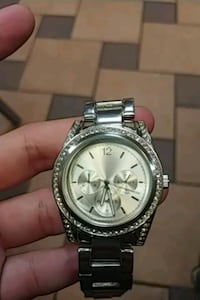 round silver Michael Kors chronograph watch with silver link bracelet Arlington, 22207