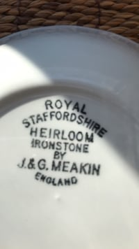 White royal staffordshire heirloom ironstone Eight Place settings