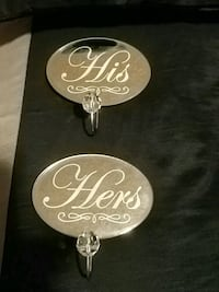 His and Hers wall hooks, never used Vaughan