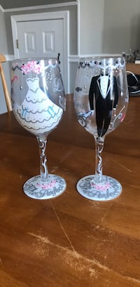 Hand Painted Bride and Groom Wine Glasses Baltimore, 21224