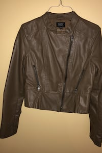 Pleather coat olive colour med