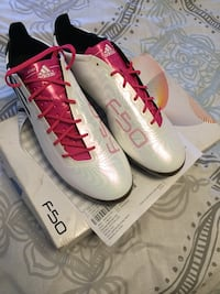 Pair of white-and-pink adidas soccer shoes Richmond, 94801