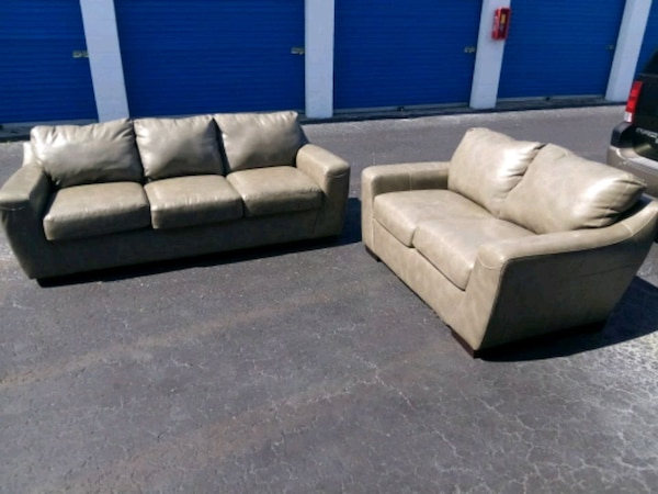 Gray Leather Sofa and Loveseat Living Room Set