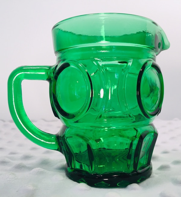 Vintage 4 pc Forrest Green Glass Creamer & Sugar Bundle 48c62868-9e6c-4b8f-a3ec-bc2dc4dd8039
