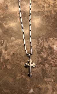 Stainless steel 316L cross two tone pendant with long chain necklace